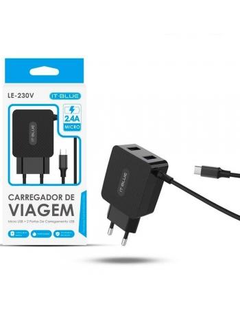 CARREGADOR TRIPLO PARA CELULAR MICRO USB/V8 + 2 PORTAS ULTRA RAPIDO