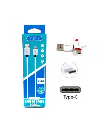 CABO DE DADOS USB A MACHO + MICRO USB TIPO C COM 1 METRO