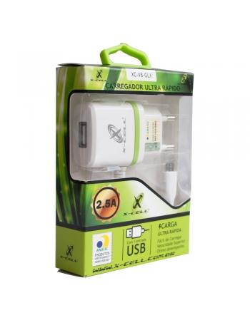 CARREGADOR PARA CELULAR DUPLO + ENTRADA USB V8 BIVOLT COM ANATEL