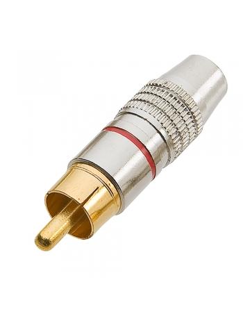 PLUG RCA TZPG15 PROFISSIONAL ESTRIADO 6MM PONTA GOLD VERMELHO