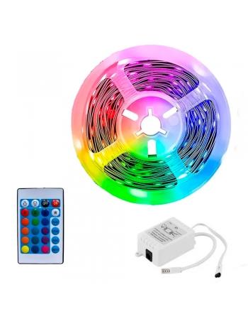 FITA LED RGB 3528 COM SILICONE + CONTROLADOR 5 METROS