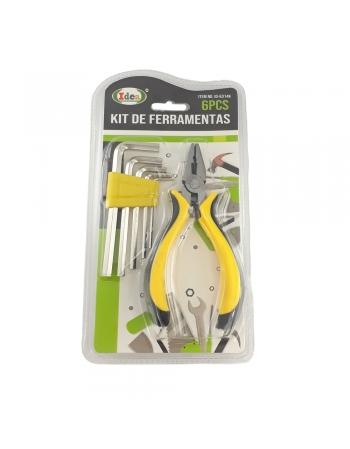 KIT FERRAMENTAS COM 6 PEÇAS BLISTER ID-6314K
